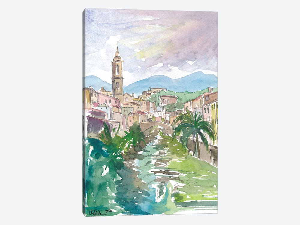 Italian Country Town Liguria with Creek And Bridge by Markus & Martina Bleichner 1-piece Canvas Print