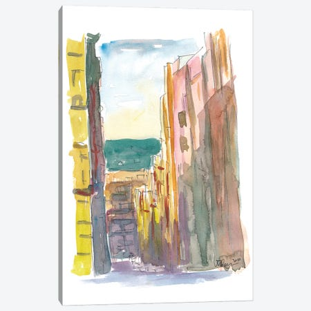 Lavapies Madrid Street Scene With Sun And Shades Canvas Print #MMB238} by Markus & Martina Bleichner Canvas Wall Art