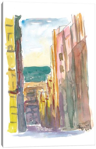 Lavapies Madrid Street Scene With Sun And Shades Canvas Art Print