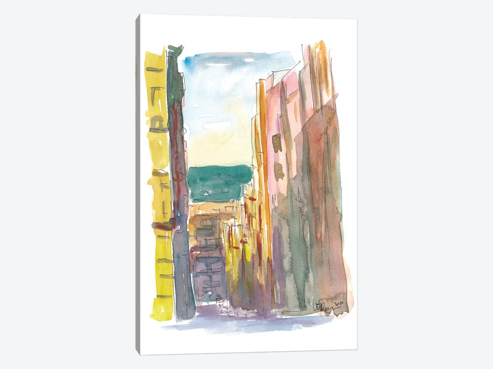 Lavapies Madrid Street Scene With Sun And Shades by Markus & Martina Bleichner 1-piece Canvas Art Print