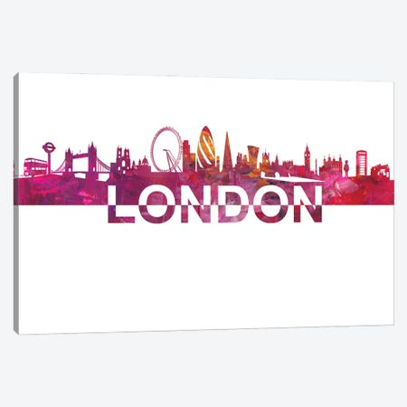London Skyline Silhouette Strong with Text Canvas Print #MMB239} by Markus & Martina Bleichner Canvas Art