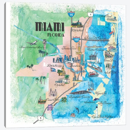 Miami, Florida Travel Poster Canvas Print #MMB23} by Markus & Martina Bleichner Art Print