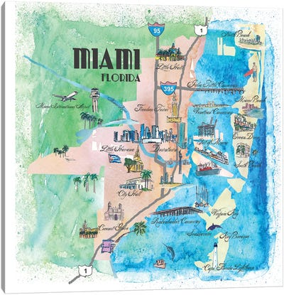 Miami, Florida Travel Poster Canvas Art Print