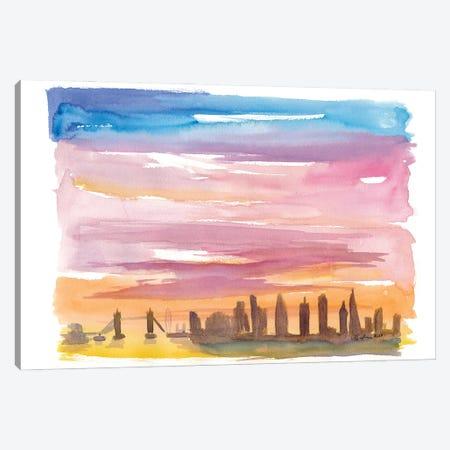 London United Kingdom Skyline in Golden Sunset Mood Canvas Print #MMB240} by Markus & Martina Bleichner Art Print