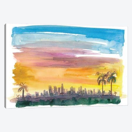 Los Angeles California Skyline in Golden Sunset Mood Canvas Print #MMB241} by Markus & Martina Bleichner Canvas Print