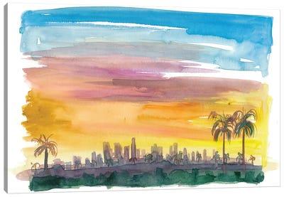 Los Angeles California Skyline in Golden Sunset Mood Canvas Art Print