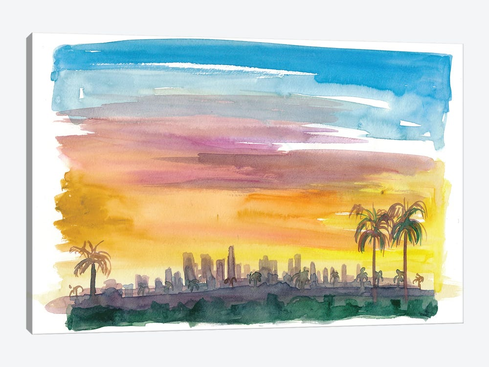 Los Angeles California Skyline in Golden Sunset Mood by Markus & Martina Bleichner 1-piece Canvas Art Print
