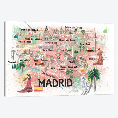 Madrid Spain Illustrated Travel Map with Roads Landmarks and Tourist Highlights Canvas Print #MMB242} by Markus & Martina Bleichner Art Print