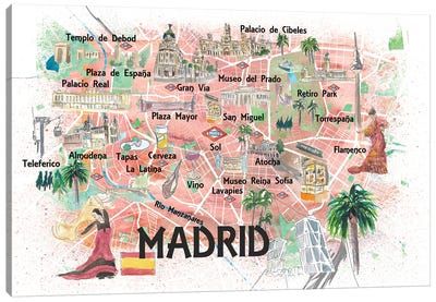 Madrid Spain Illustrated Travel Map with Roads Landmarks and Tourist Highlights Canvas Art Print
