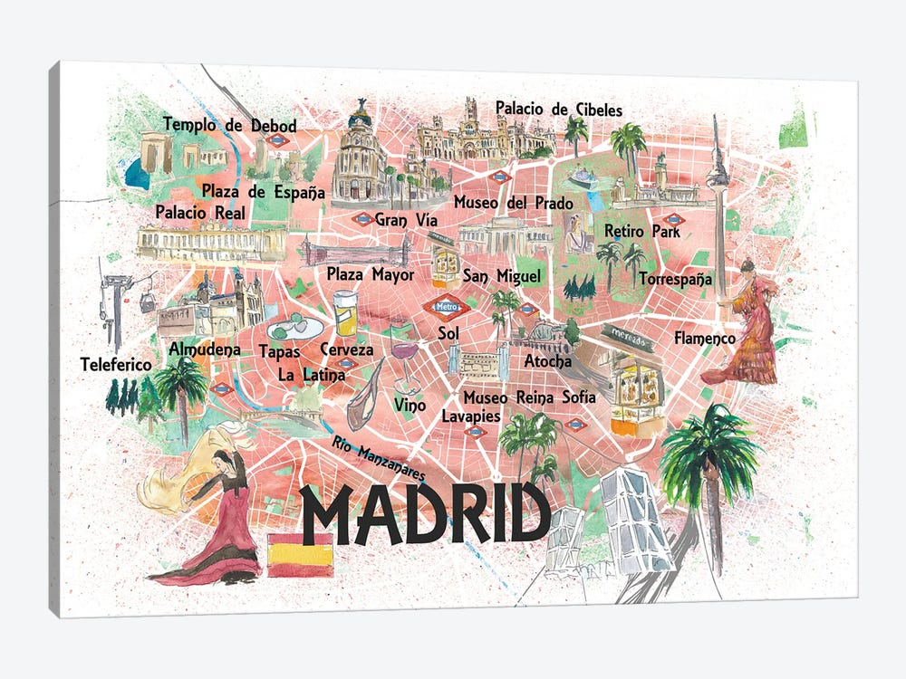 Madrid Spain Illustrated Travel Map with Roads Landmarks and Tourist Highlights by Markus & Martina Bleichner 1-piece Canvas Artwork