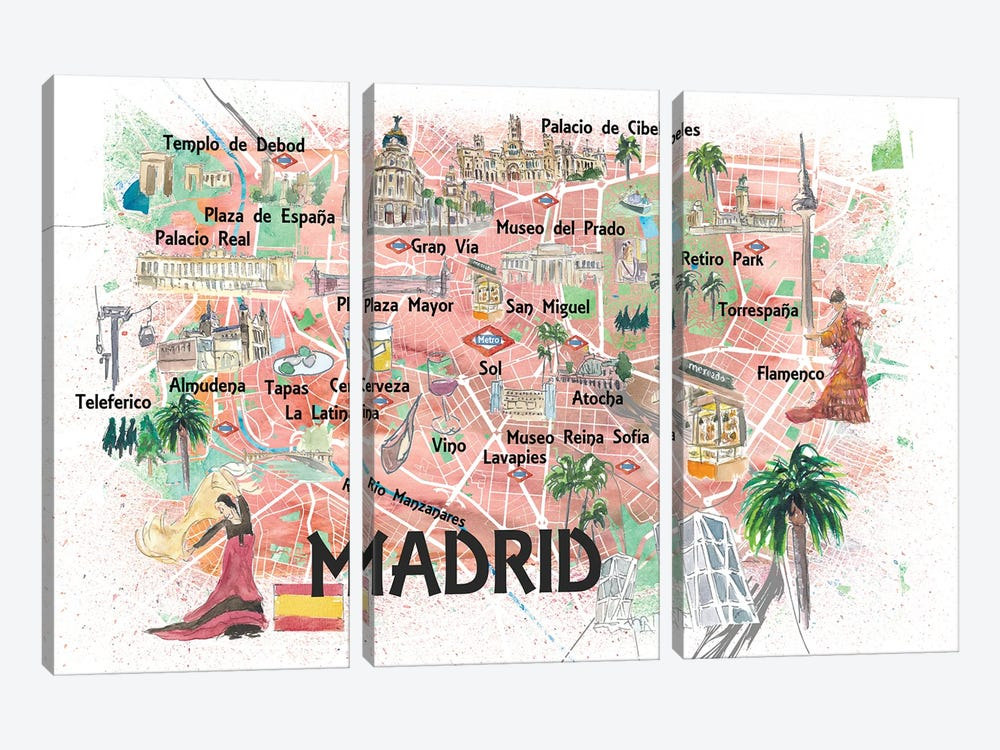 Madrid Spain Illustrated Travel Map with Roads Landmarks and Tourist Highlights by Markus & Martina Bleichner 3-piece Canvas Wall Art