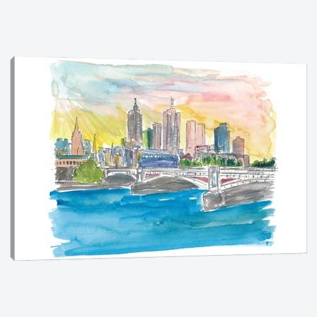 Melbourne Australia Skyline with Yarra River At Sunset Canvas Print #MMB243} by Markus & Martina Bleichner Canvas Art Print