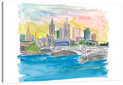 Melbourne Australia Skyline with Yarra River At Sunset Canvas Art Print