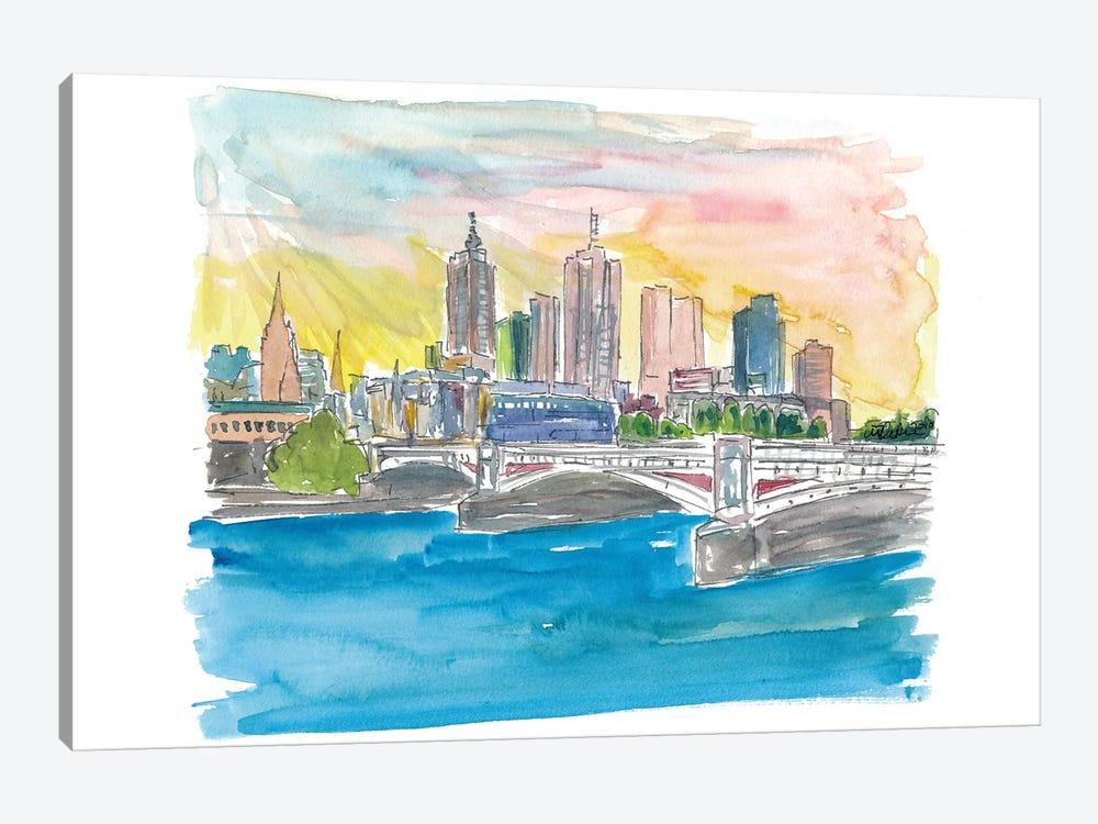 Melbourne Australia Skyline with Yarra River At Sunset by Markus & Martina Bleichner 1-piece Canvas Art Print