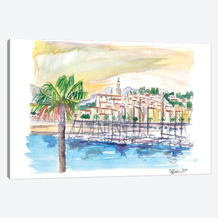 Menton Provence France Harbour Scene with Waterfront Canvas Print #MMB244} by Markus & Martina Bleichner Canvas Wall Art