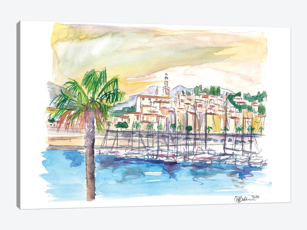 Menton Provence France Harbour Scene with Waterfront by Markus & Martina Bleichner 1-piece Canvas Art