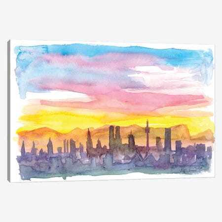 Munich Bavaria Skyline in Golden Sunset Mood Canvas Print #MMB246} by Markus & Martina Bleichner Canvas Artwork