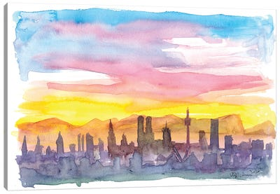 Munich Bavaria Skyline in Golden Sunset Mood Canvas Art Print