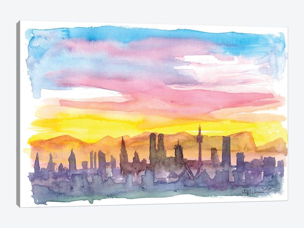 Munich Bavaria Skyline in Golden Sunset Mood by Markus & Martina Bleichner 1-piece Canvas Artwork