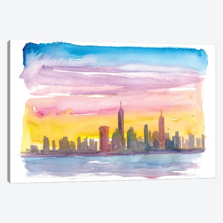New York City Skyline in Golden Sunset Mood Canvas Print #MMB249} by Markus & Martina Bleichner Canvas Art Print