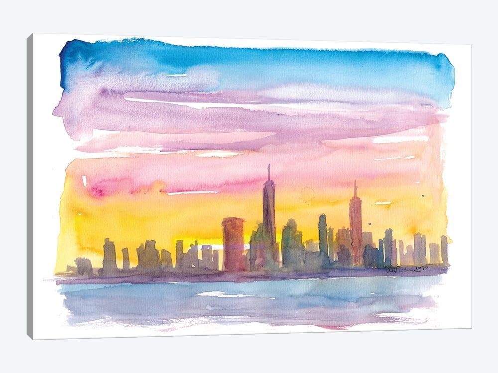 New York City Skyline in Golden Sunset Mood by Markus & Martina Bleichner 1-piece Art Print
