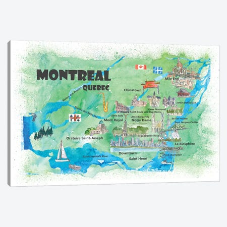 Montreal, Quebec, Canada Travel Poster Canvas Print #MMB24} by Markus & Martina Bleichner Canvas Wall Art