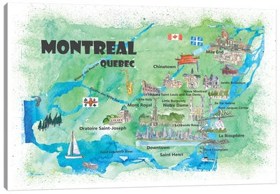 Montreal, Quebec, Canada Travel Poster Canvas Art Print