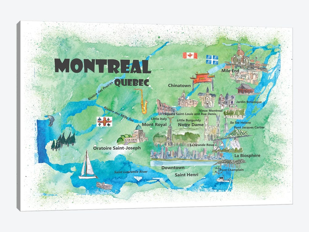 Montreal, Quebec, Canada Travel Poster by Markus & Martina Bleichner 1-piece Canvas Print