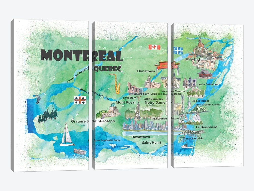 Montreal, Quebec, Canada Travel Poster 3-piece Canvas Art Print