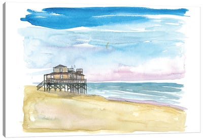 Outer Banks Pier At Nags Head At Sunset Canvas Art Print