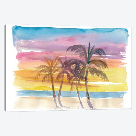 Palms At The Beach in Golden Sunset Mood Canvas Print #MMB252} by Markus & Martina Bleichner Canvas Wall Art