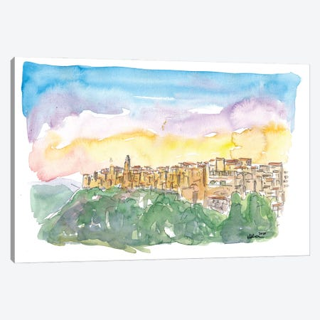 Pitigliano Grosseto Old Italian Skyline In The Evening Canvas Print #MMB253} by Markus & Martina Bleichner Canvas Wall Art