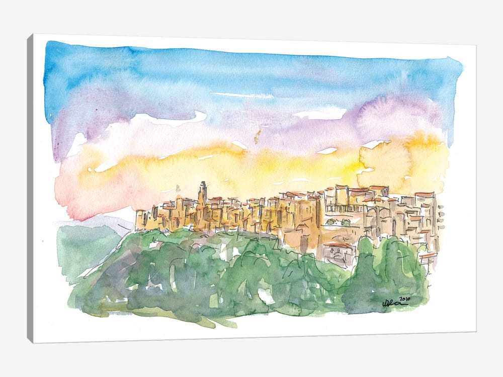 Pitigliano Grosseto Old Italian Skyline In The Evening by Markus & Martina Bleichner 1-piece Canvas Art