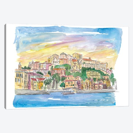 Porto Maurizio Imperia Ligure Italy in Warm Sunlight Canvas Print #MMB255} by Markus & Martina Bleichner Canvas Print
