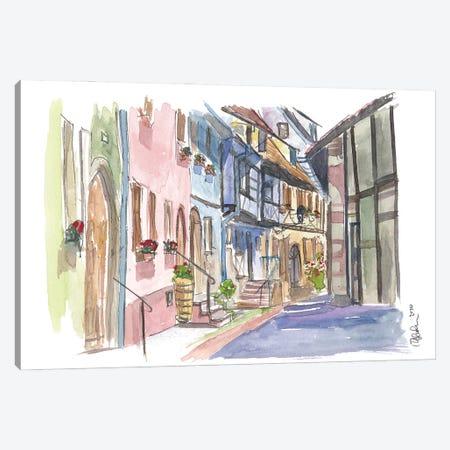 Riquewihr Fairy Tale Village Alsace France Street Scene Canvas Print #MMB257} by Markus & Martina Bleichner Canvas Art Print