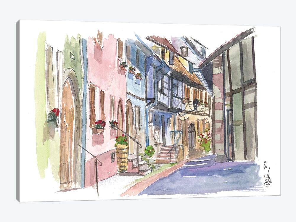Riquewihr Fairy Tale Village Alsace France Street Scene by Markus & Martina Bleichner 1-piece Canvas Art