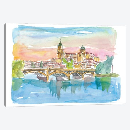 Salamanca Spain Cathedral and Tormes Bridge Canvas Print #MMB258} by Markus & Martina Bleichner Canvas Art