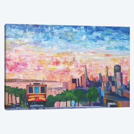San Francisco Cable Car With Skyline and Bay Canvas Print #MMB259} by Markus & Martina Bleichner Canvas Artwork