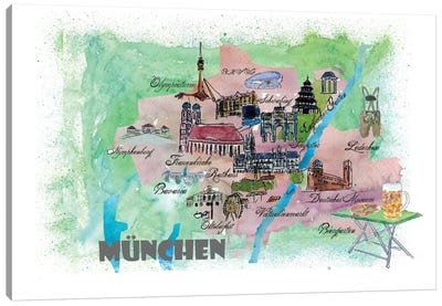 Muenchen, Bavaria, Germany Travel Poster Canvas Art Print