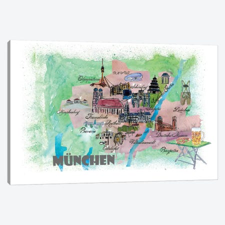 Muenchen, Bavaria, Germany Travel Poster Canvas Print #MMB25} by Markus & Martina Bleichner Canvas Wall Art