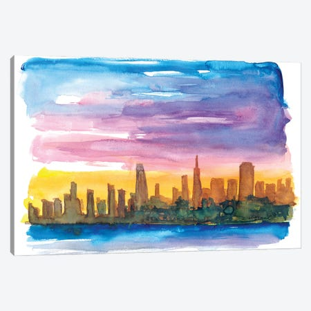 San Francisco Skyline in Golden Sunset Mood Canvas Print #MMB260} by Markus & Martina Bleichner Canvas Art Print