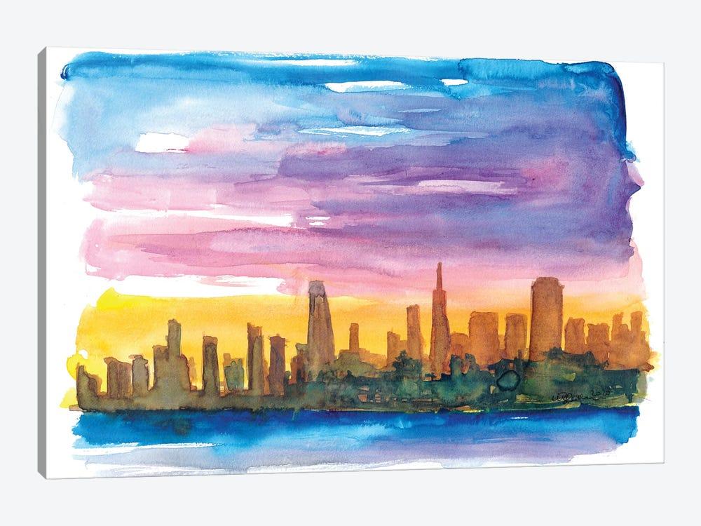San Francisco Skyline in Golden Sunset Mood by Markus & Martina Bleichner 1-piece Canvas Art