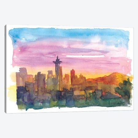 Seattle Washington Skyline in Golden Sunset Mood Canvas Print #MMB261} by Markus & Martina Bleichner Canvas Print