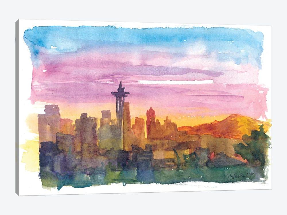 Seattle Washington Skyline in Golden Sunset Mood by Markus & Martina Bleichner 1-piece Canvas Print