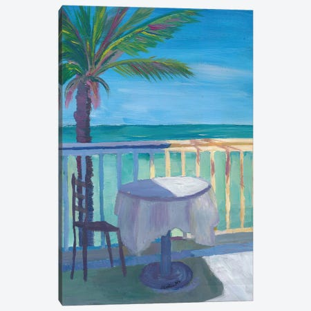 Seaview Cafe Table at the Caribbean With Palm - Dreamaway to Hideaway Canvas Print #MMB262} by Markus & Martina Bleichner Canvas Print