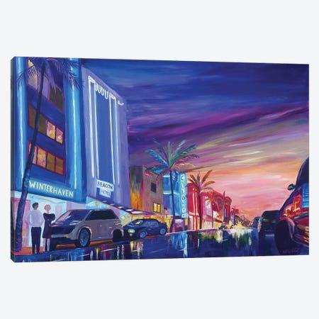 South Beach Ocean Drive Night In Miami Beach FL Canvas Print #MMB265} by Markus & Martina Bleichner Canvas Art