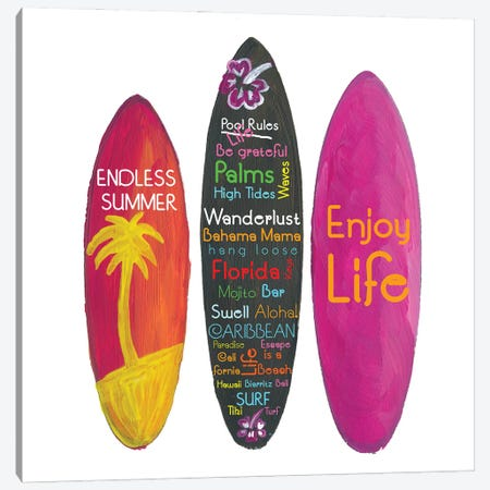 Surfboard Philosophy  - Enjoy Life, Travel and Surf - Surfboard Wall Canvas Print #MMB267} by Markus & Martina Bleichner Canvas Art