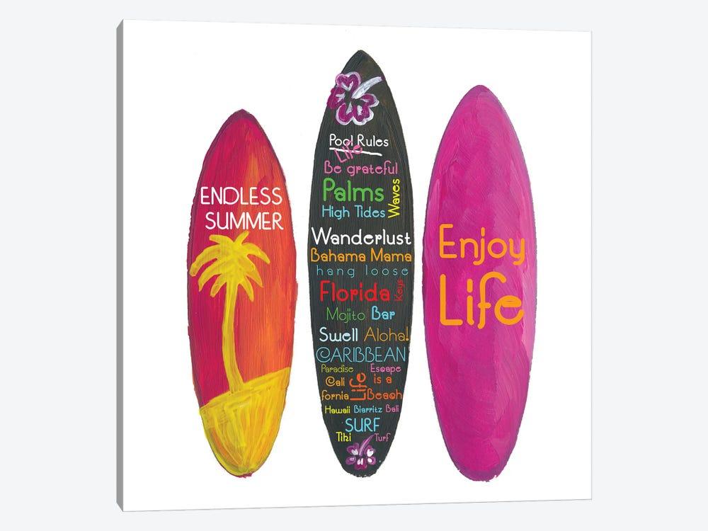 Surfboard Philosophy  - Enjoy Life, Travel and Surf - Surfboard Wall by Markus & Martina Bleichner 1-piece Art Print