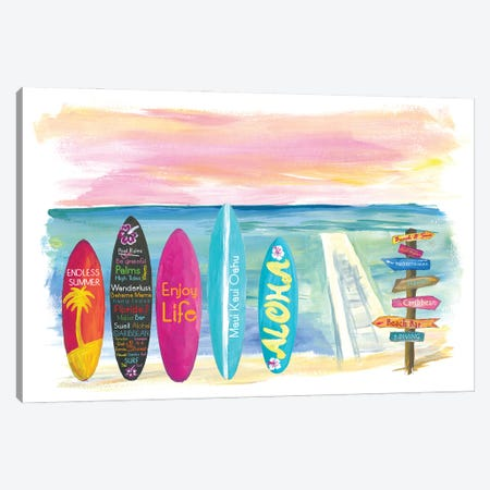 Surfboard Philosophy  - Enjoy Life, Travel and Surf VII Canvas Print #MMB269} by Markus & Martina Bleichner Canvas Art Print