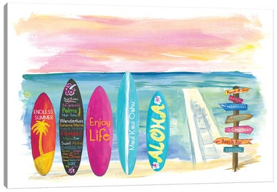 Surfboard Philosophy  - Enjoy Life, Travel and Surf VII Canvas Art Print